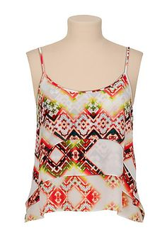high-low tired chiffon printed tank (original price, $29) available at #Maurices