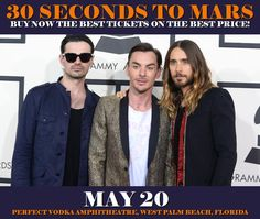 30 Seconds To Mars in West Palm Beach at Perfect Vodka Amphitheatre on May 20. More about this event here https://www.facebook.com/events/1954958508057091/