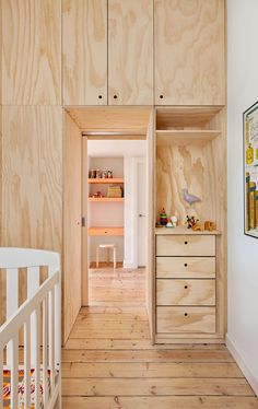 Australian firm Clare Cousins Architects proves urban living and functional family homes are not mutually exclusive. - Laura C. Mallonee's A Tiny Apartment Renovation for a Growing Family in Melbourne design collection on Dwell. Plywood Interior, Plywood Furniture, Plywood Walls, Interior Doors, Plywood House, Plywood Cabinets, Furniture Design, Craftsman Interior, Entryway Furniture
