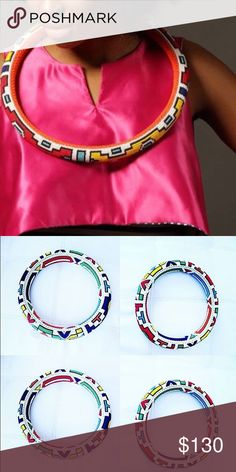 Round beaded Ndebele neck piece Colorful beaded round Ndebele neck piece from South Africa Accessories