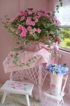 Scalise shed vignette pretty potted flowers and linens by Pink Fairy
