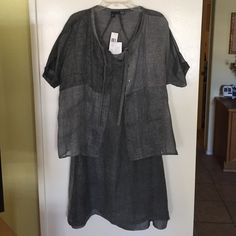 "Eileen Fisher Linen Knee Length Dress & Jacket Knee length V neck tank dress, tonal grey with attached 100% silk slip. Slip extends past dress hem 1"". Dress shoulder has bra snap tabs. Boxy jacket with neck tie & shell buttons.  Dress 44"" bust, 40"" length. Jacket 54"" bust, 25"" length, 5"" insleeve. NWT Eileen Fisher Dresses Midi"