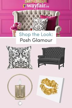 Get inspired by Glam Living Room Design photo by Wayfair. Wayfair lets you find the designer products in the photo and get ideas from thousands of other Glam Living Room Design photos. Glam House, Glam Living Room, First Apartment, Sophisticated Style, New Room, Living Room Designs, Love Seat, Sweet Home, House Design