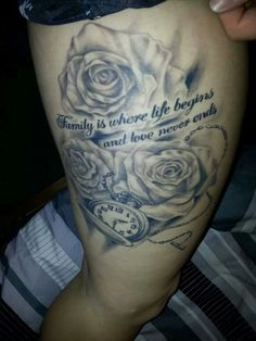 Family tattoo with roses and timepiece
