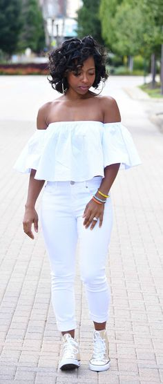 Chuck Taylors, All White Outfit, White Off the Shoulder top, White Jeans…