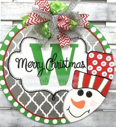 Christmas Door Hanger: Monogrammed Welcome Sign by SparkledWhimsy