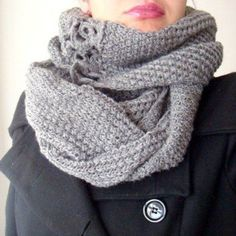 PDF Knit and Crochet PATTERN Long Infinity Cowl Circle Scarf Neck Warmer with Flowers 16