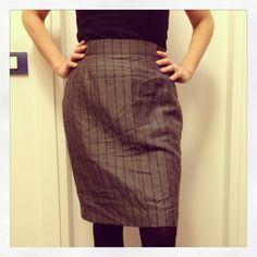 Vintage skirt silk/linen grey for sale