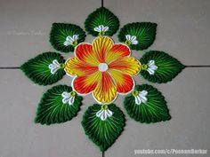 Very easy and simple flower rangoli Easy Rangoli Designs Diwali, Indian Rangoli Designs, Rangoli Designs Latest, Rangoli Designs Flower, Free Hand Rangoli Design, Rangoli Border Designs, Small Rangoli Design, Rangoli Patterns, Rangoli Ideas