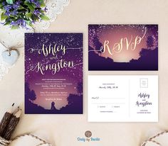 Starry night wedding invitations with rsvp postcards   Purple wedding invitations printed   Evening reception   Affordable wedding sets