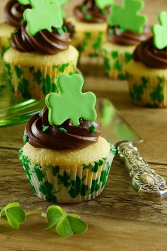 Lovely tribute to St. Pat's...Saint Pattys Day Vanilla Cupcakes with Bittersweet Chocolate Frosting! / Pattys Food