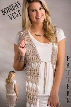 Beautiful Bombay Vest Crochet Pattern, perfect for summer! Homeade Gifts, Crochet Vest Pattern, Crochet Patterns For Beginners, Inspirational Gifts, Runway Models, Crochet Clothes, Free Crochet, Sweaters For Women, Group