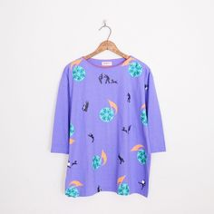 #Vintage #80s #blue #MUSIC NOTE #NOVELTY print #SLOUCHY #OVERSIZED t-shirt blouse #top L/XL #MusicNote #NoveltyPrint #Oversize #Tshirt #Ebay #TrashyVintage $28.00