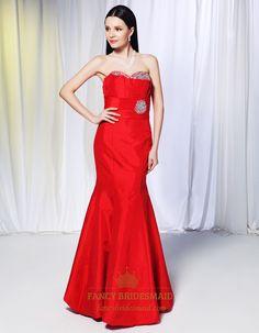 Taffeta Mermaid Prom Dresses, Red Strapless Mermaid Evening Dress