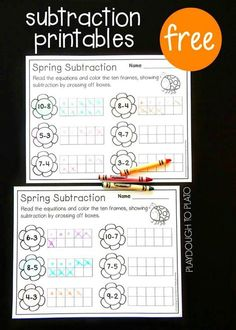 Free Spring Ten Frame Subtraction Sheets. Great math center or subtraction activity for kindergarten! (affiliate)
