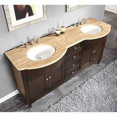 master bathroom - Silkroad Exclusive 72-inch Travertine Stone-top Double Sink Bathroom Vanity