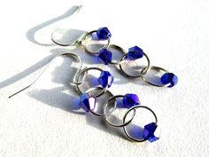 Blue crystal dangle earrings Sterling by CollectiveGathering