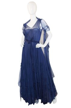 Late 1940s Norman Hartnell Attr Couture Net Gown | From a collection of rare vintage evening dresses at https://www.1stdibs.com/fashion/clothing/evening-dresses/