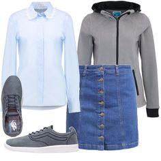 La camicia è un capo d'abbigliamento classico e formale, in questo look per tutti i giorni l'ho voluta sdrammatizzare con una gonna in jeans, una felpa con zip e sneakers