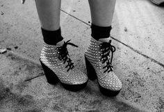 studded platform ankle boots.