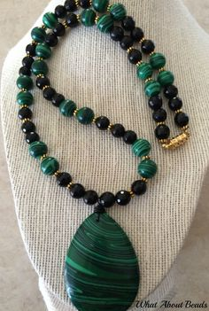Malachite Beaded Set, Necklace, Bracelet and Earrings by WhatAboutBeads on Etsy