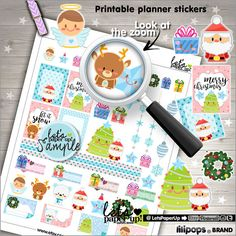 ★New listing! Christmas stickers for print - Kawaii stickers - Planner stickers - Printable stickers