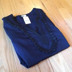 NEW J Crew Navy Pom Pom Tunic NEW Navy and Black Tunic. Made of cotton. Hits mid thigh. 3/4 length sleeves.  no trade  no holds no lowball offers  no PayPal ✅10% off bundles. J. Crew Tops Tunics