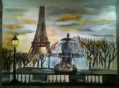 Obra: París Técnica: pintura acrílica profesional. Autor: Jhostin Gomez.