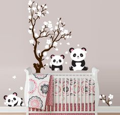 So cute!!! Pandas and Cherry Blossom Tree, Panda Decal, Panda Vinyl Wall Decal for Nursery, Kids, Childrens Room. $75.00, via Etsy.