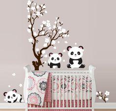 So cute!!! Pandas and Cherry Blossom Tree, Panda Decal, Panda Vinyl Wall Decal for Nursery, Kids, Childrens Room. $75.00, via Etsy.