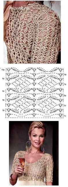Mejores 24 imágenes de Top blusa túnica tejido a crochet + patrón ...