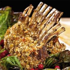 This gorgeous lamb rib roast is seasoned only with salt, pepper, olive oil, and Dijon mustard. Store-bought focaccia breadcrumbs lend it a crispy coating. Easter Dinner Recipes, Brunch Recipes, Lamb Recipes, Cooking Recipes, Meat Recipes, Crusted Rack Of Lamb, Lamb Ribs, Lamb Dishes, Food Menu
