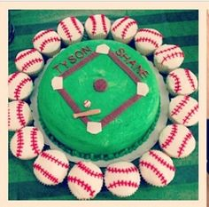 Baseball baby shower cake & cupcake :)