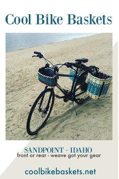 Sun, sand, and bikes (with baskets) . We've got what you need to get your rig outfitted. Bike Baskets, Bicycle Basket, Sandpoint Idaho, Best Motorbike, Bicycle Panniers, Commuter Bike, Cargo Bike, Ways To Travel, Bike Trails