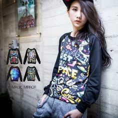 Buy 'E MAGIC MIRROR – Long-Sleeve Printed T-Shirt' with Free International Shipping at YesStyle.com. Browse and shop for thousands of Asian fashion items from Taiwan and more!