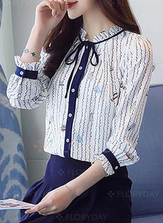 Blouses - $30.99 - Stripe Cute Acrylic Round Neckline 3/4 Sleeves Blouses (1645225693)