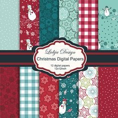 12 Beautiful Christmas digital papers. Great for invitations, cards, and papers guds.     Format:12x12inch - 300dpi JPG
