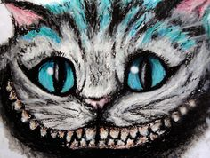 Cheshire cat, Alice in Wonderland, oil pastel