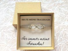 Trauzeugin Armband ♥ Infinity + Karte & Schachtel ❤ Willst Du meine Trauzeugin sein? Dieses wunderschöne Trauzeugengeschenk steht als Symbol einer ewigen Freundschaft. Wie kann deine...