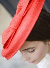 Chapeau bérêt rouge en paille cousue Mademoiselle Chapeaux