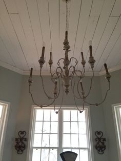 Sitting room and office chandelier from Shadesoflight.com The Magnolia Mom - Joanna Gaines