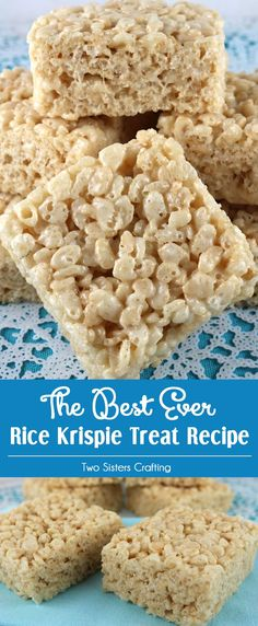 Perfected over the years in the Two Sisters Crafting kitchen, our Best Ever Rice Krispie Treat Recipe makes the most delicious Rice Krispie Treats we've ever eaten. We've used this recipe as the base (Favorite Desserts Kids) Great Desserts, Köstliche Desserts, Delicious Desserts, Dessert Recipes, Quick Dessert, Health Desserts, Carré Rice Krispies, Reis Krispies, Rice Krispie Bars