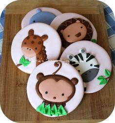 Safari Animal Cookies -  Safari Party -  Safari Baby Shower - Safari Birthday. $50.00, via Etsy.