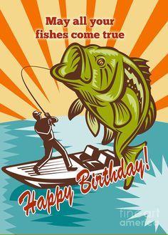 happy birthday card bass  | Fly Fisherman On Boat Catching Largemouth Bass Digital Art