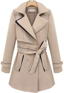 Apricot Lapel Long Sleeve Belt Coat