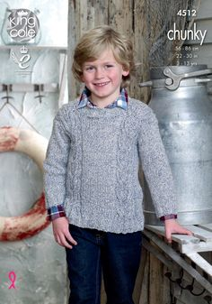 Childrens knitted jumper pattern. Authentic chunky soft marl shade - King Cole