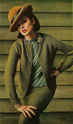 Sondra Peterson, September Vogue 1964 green knit suit dress outfit mid 60s winter wool nubby striped shell shirt bowler hat color photo print ad model magazine