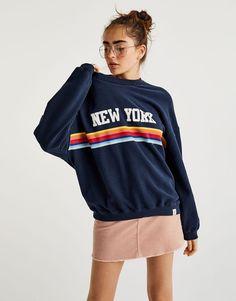 Pull&Bear - woman - clothing - sale favourites - 'new york' rainbow print sweatshirt - navy - 05593314-I2017