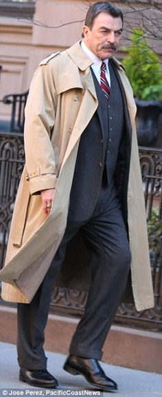 trench coat is great: lightweight and drapey with big details like storm patch, shoulder detail, wrist detail.   man's ring.  drapey pants.