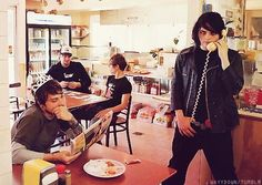 Frank, I think you need to give Gerard his tiara back. He doesn't look too pleased that you have it. He's probably calling his league of vampires to come get the tiara from you.